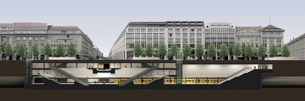 "Längsschnitt des U-Bahnhofs ""Unter den Linden"""